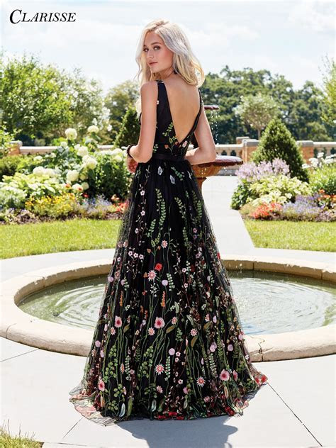 Black Floral Embroidered Prom Dress 3565 in 2019   cloth