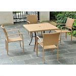 "International Caravan Barcelona Resin Wicker/Aluminum 39"" Square Dining Table"