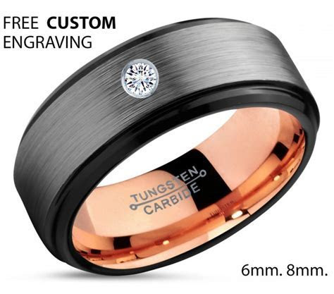 Brushed Silver Black Tungsten Ring, 18k Rose Gold Black