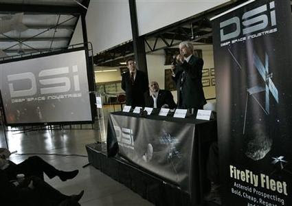 Officials from Deep Space Industries announce their plans for the world's first fleet of commercial asteroid-prospecting spacecraft at the Museum of Flying in Santa Monica, California, January 22, 2013. REUTERS-Jonathan Alcorn