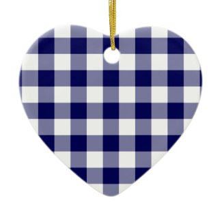 Navy and White Gingham Pattern Christmas Tree Ornament