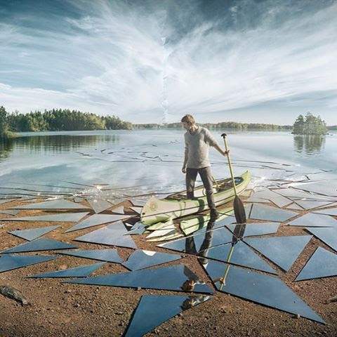 Artist Uses 17 Meters of Mirrors to Represent a Lake That's Been Broken Into Pieces