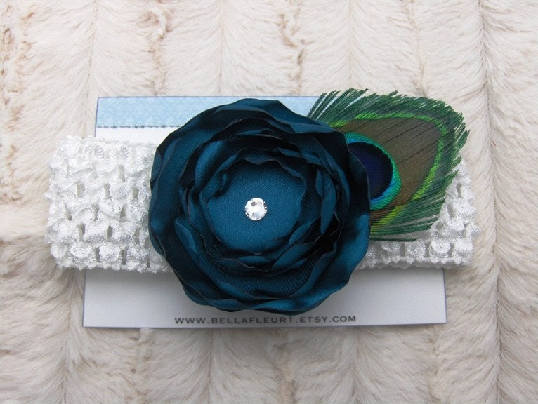 Teal Satin Flower with Swarovski Center and Peacock Feather Accent on White Crochet Headband
