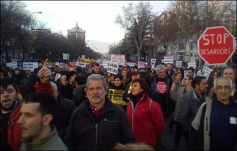 La manifestación por el paseo de Recoletos en Madrid. -AB