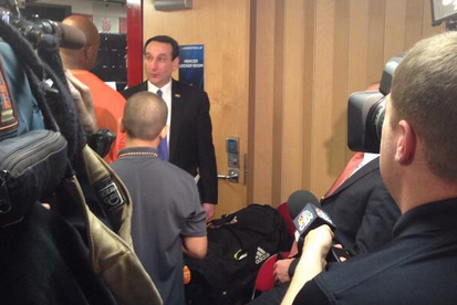Coach K Congratulates Mercer in Locker Room