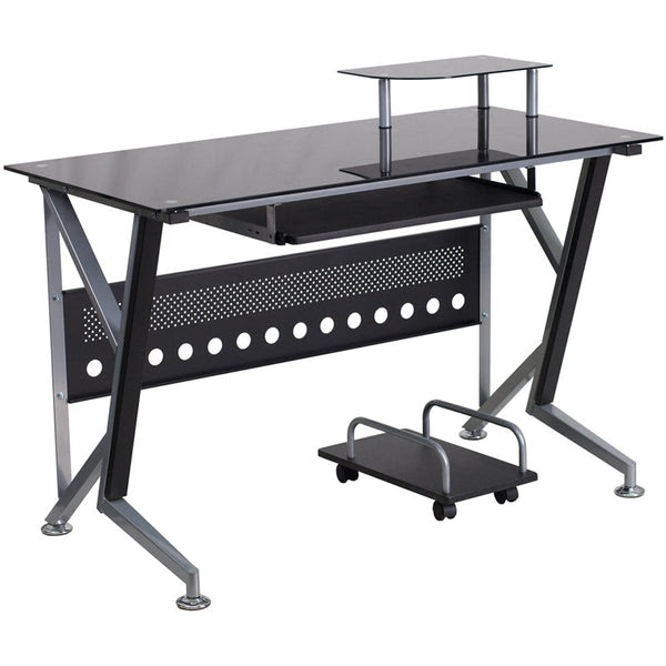 Black Glass Computer Desk With Pull Out Keyboard Tray And Cpu Cart Na Chairspro
