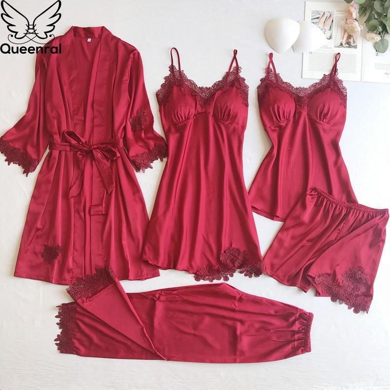 NEW  Queenral 5pcs Women's Pijama Silk Pajama Set Pyjamas Sexy Lace Nightie Sleepwear Autumn Home Clothe
