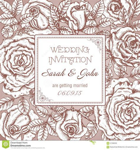 Vintage Elegant Wedding Invitation With Graphic Roses