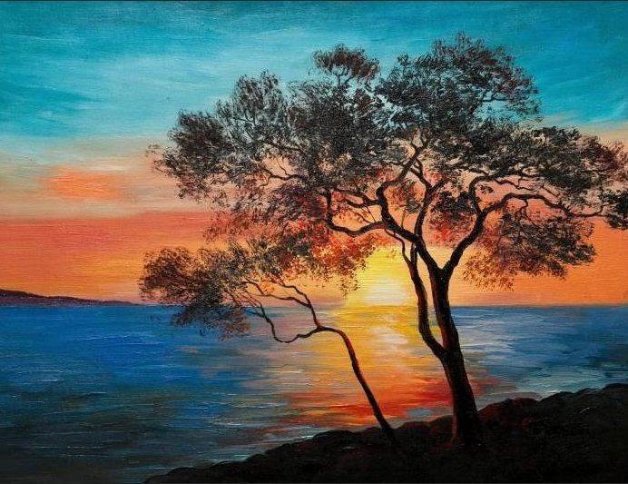 32 Inspirasi Lukisan Pemandangan Alam Yang Simpel Pemandangan Alam