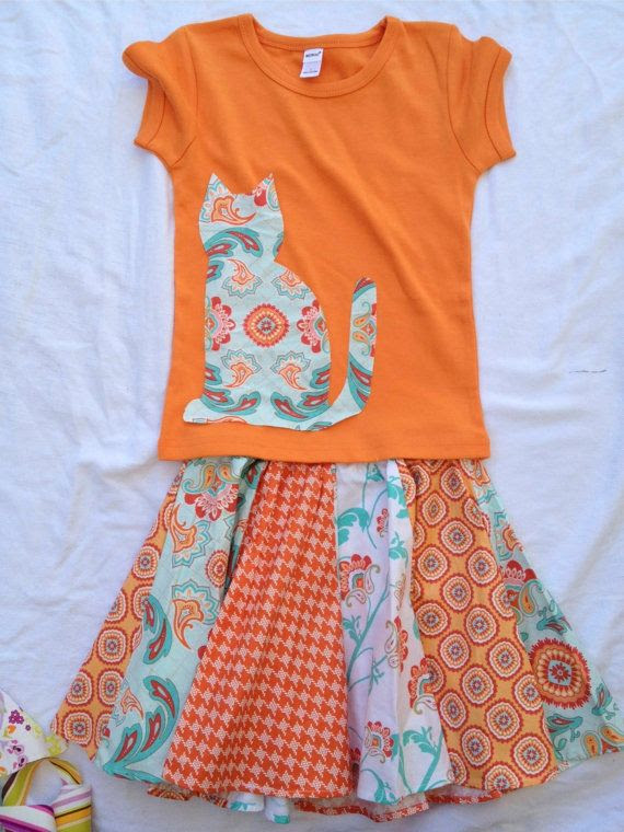 Whirly Girly Skirt Set in Sitting Pretty Kitty by PrettyPlayful, $49.00