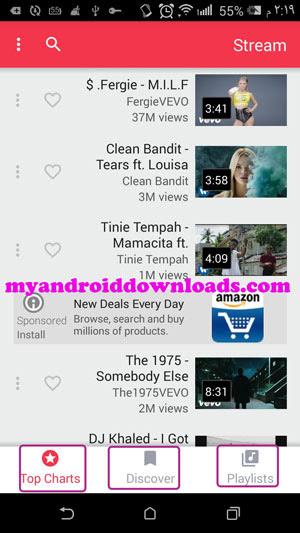 تحميل برنامج تشغيل اليوتيوب في الخلفية للاندرويد stream مجانا - واجهة البرنامج الرئيسية