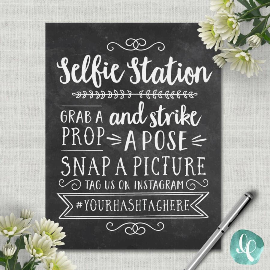 Chalkboard Selfie Station Sign Wedding Photo Booth Sign