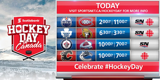 "Sportsnet on Twitter: ""LIVE TODAY: Celebrate #HockeyDay with Sportsnet! The 13.5 hour broadcast begins at noonET/9amPT on Sportsnet & CBC """