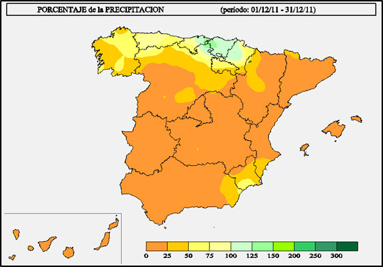 Porcentaje de la precipitación acumulada en el mes de diciembre de 2011