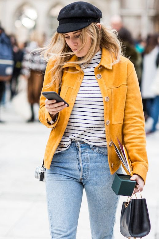 Shopbop Sale Code 2017 Event Of The Season Paperboy Cap Yellow Jacket Striped Top Jeans Fashion Me Now Blogger Street Style Le Fashion Blog