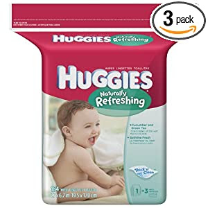 Huggies Naturally Refreshing Cucumber & Green Tea Baby Wipes Popup Refill, 184-Count Pack (Pack of 3)