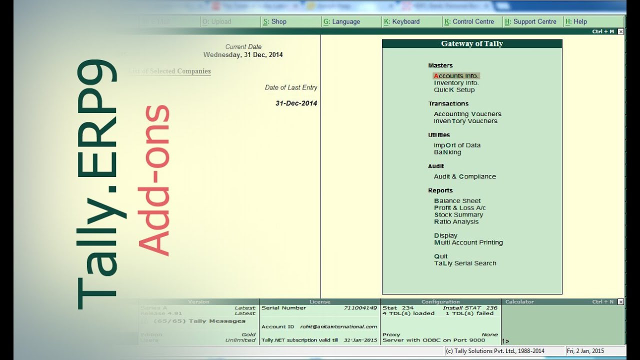 Tally Add Ons : Add New Columns for Invoice in Tally.ERP9   Tally ...