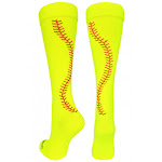 (Small, Neon Yellow/Red) - MadSportsStuff Softball Socks with Stitches Over The Calf (Multiple Colours)
