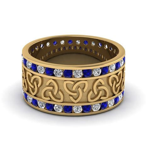Diamond Celtic Wedding Band With Sapphire In 14K Yellow