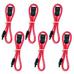 Aleratec 6-Pack Lot SATA Data HDD Cable Male Straight to Straight 20-Inch