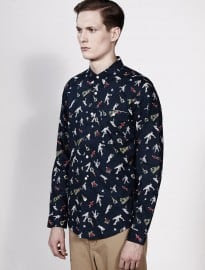 Topman Blue Tennis Printed Shirt