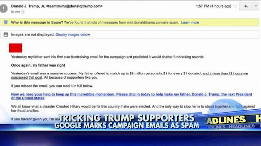 Google Accused of Sending Trump Campaign Emails to Spam Folder
