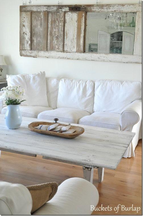 barn door coffee table (from Buckets of Burlap)