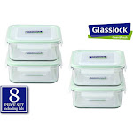 Glasslock RP522 30-Ounce Square Glass Food-Storage Containers With Locking Lids, Set Of 4