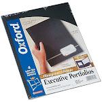 Oxford Monogram Design 2-Pocket Presentation Folders Black/Gold 883845