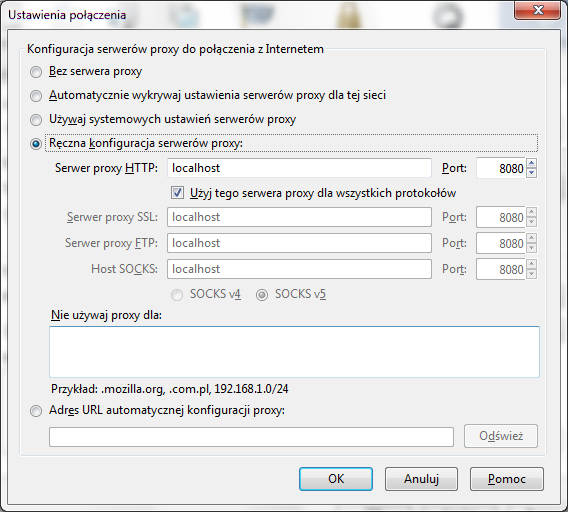 Firefox network setup