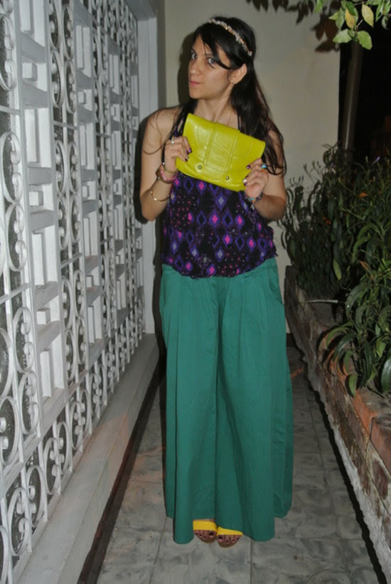 Look hippie con pantalones palazzo y bloques de color #Jfashionblog