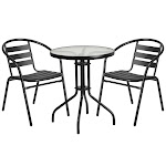Flash Furniture TLH-071RD-017CBK2-GG 23.75 in. Round Glass Metal Table with 2 Black Metal Aluminum Slat Stack Chairs