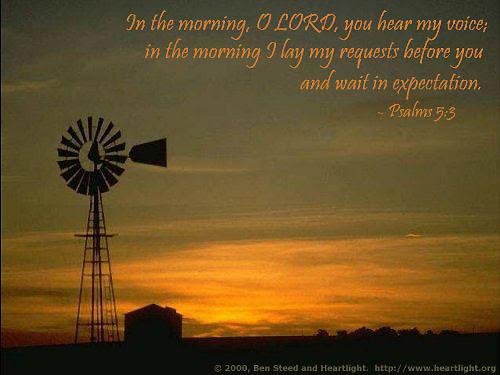Inspirational illustration of Psalm 5:3