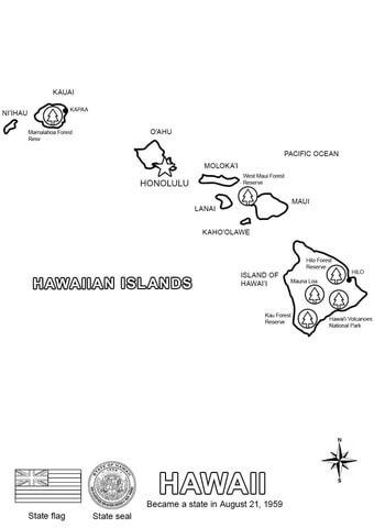 ハワイ州の地図 ぬりえ
