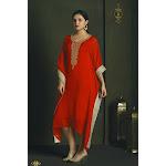 Saris and Things Classic Red Kaftan Style Long Kurti Buy / 1X / Red