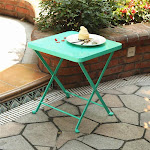PHI VILLA Outdoor Folding Metal Bistro Side Table Turquoise