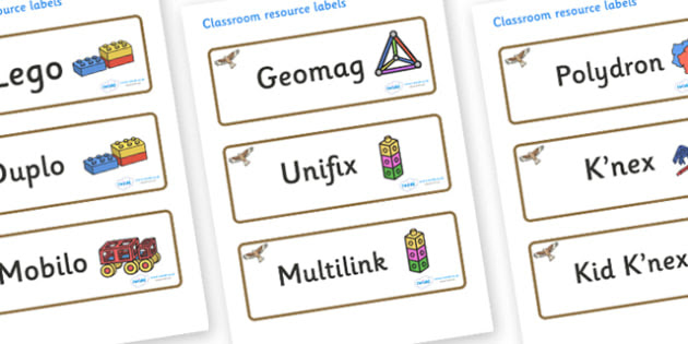 Red Kite Themed Editable Construction Area Resource Labels