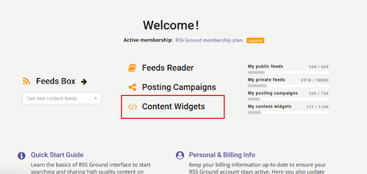 New Content Widgets Manager - RSSground.com