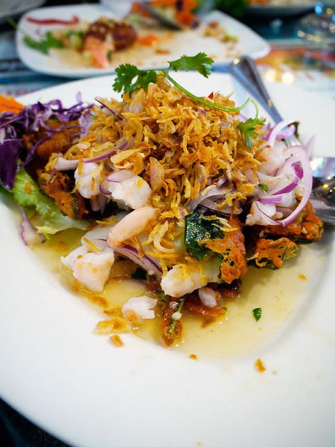 jitlada fried morning glory salad with shrimp