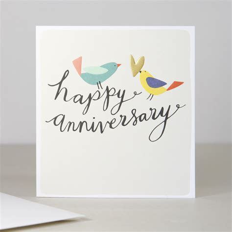 Love Birds Anniversary Card   calligraphy   Happy