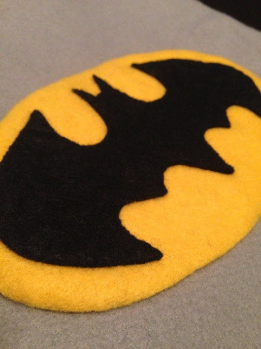 Batman Cushion, Hand Sewn in Felt