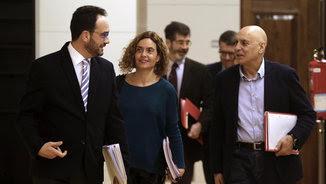 L'equip de negociadors del PSOE, aquest dilluns al Congrés dels Diputats (EFE)