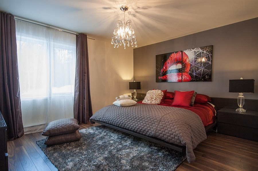 17 Divine Combinations Of Red Grey In The Bedroom