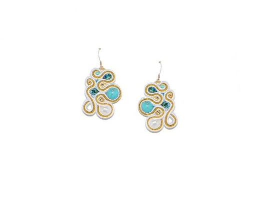 Free shipping USA & Canada. Freeform Soutache Earrings with Howlite, Freshwater Pearls, Gold-Filled Earwire. White Gold Turquoise Earrings