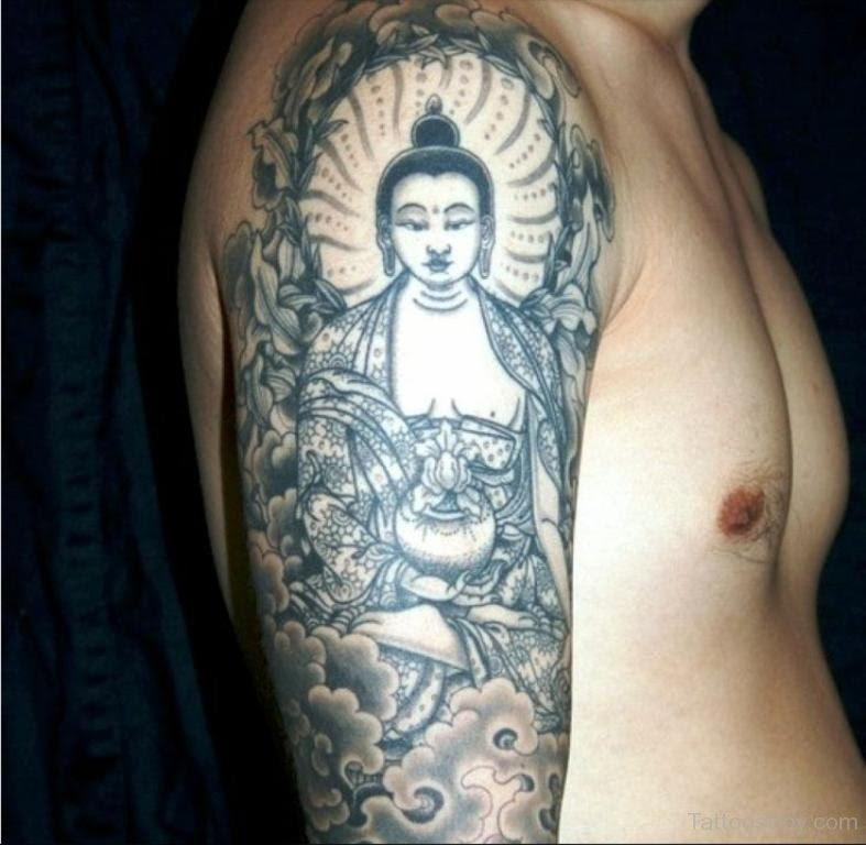 Awesome Buddhist Tattoo On Half Sleeve Tattoo Designs Tattoo Pictures