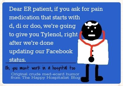 Pain medication that starts with d, di or doo, you'll get Tylenol doctor ecard humor photo