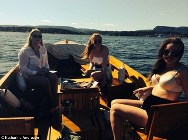 Sunshine: A group of Katharina's friends enjoy a relaxing boat tour in the sunshine, topping up on their permanent tans