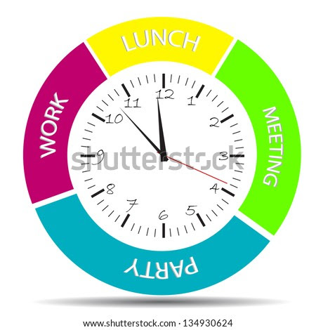 Daily Schedule Clock All Daily Activity Stock Vector 105272150 ...