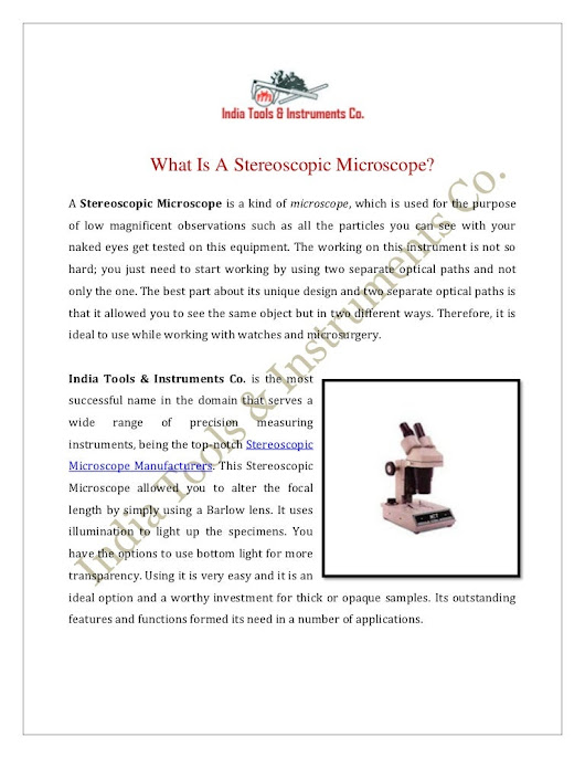 What Is A Stereoscopic Microscope?