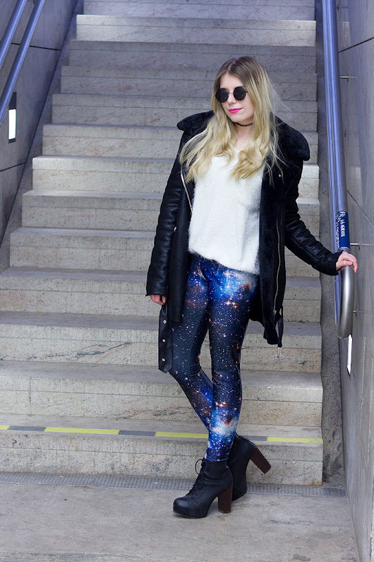 Outfit: Fuzzy Knit and Galaxy Leggings